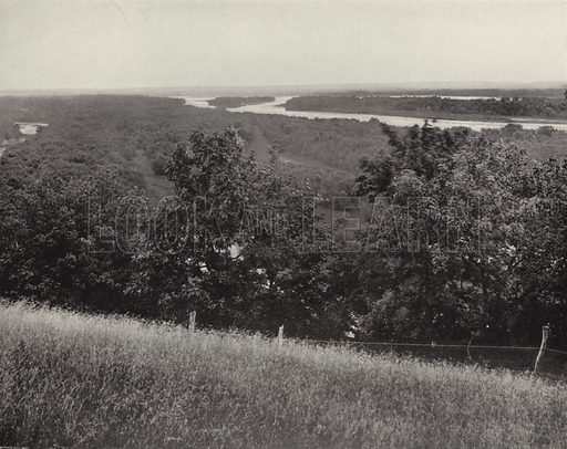 View of the Mississippi near Clinton, Iowa. Illustration for America Photographed (Donohue, Henneberry, 1897).