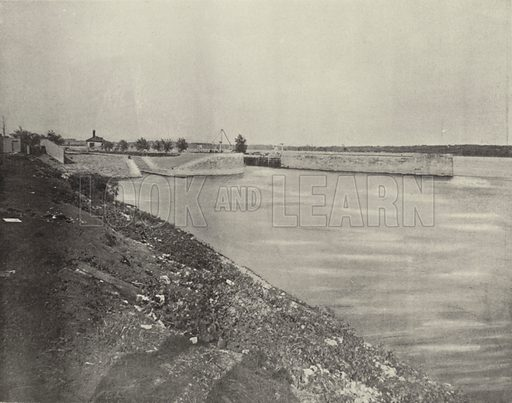 Government Locks near Keokuk, Iowa. Illustration for America Photographed (Donohue, Henneberry, 1897).