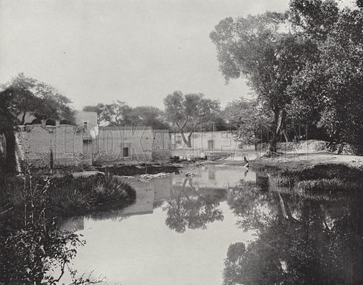 Bath Houses at Aguas Calientes. Illustration for America Photographed (Donohue, Henneberry, 1897).