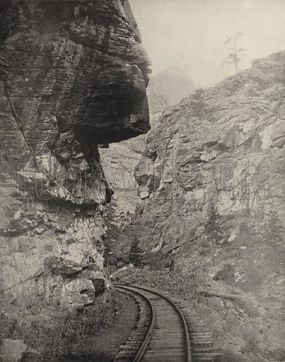 Hanging Rock, Clear Creek Canyon, Colorado. Illustration for America Photographed (Donohue, Henneberry, 1897).