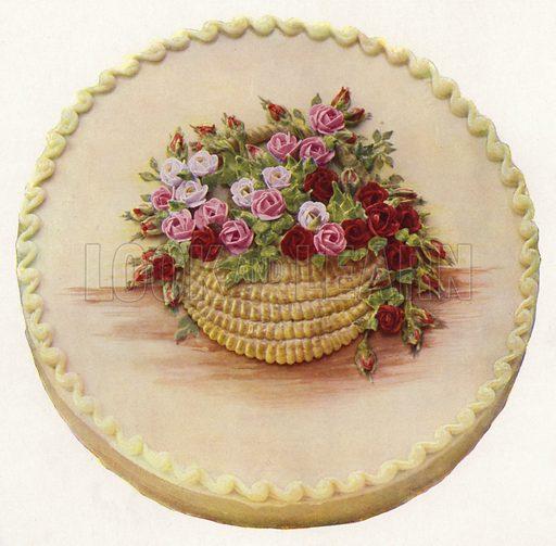 Cake with basket of roses. Illustration for Praktische Konditorei-Kunst by J M Erich Weber (Internationaler Fachverlag J M Erich Weber, 1926).