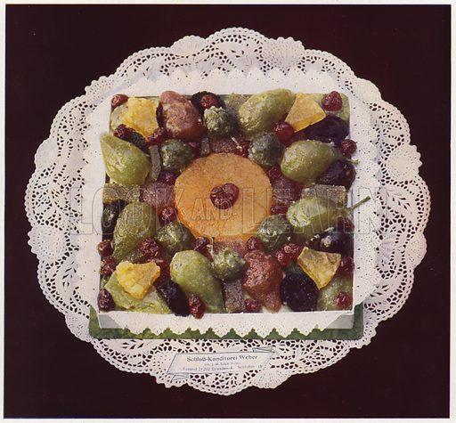 Candied fruits. Illustration for Praktische Konditorei-Kunst by J M Erich Weber (Internationaler Fachverlag J M Erich Weber, 1926).