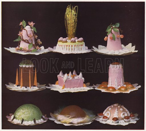 Fancy ice cream dessert pieces. Illustration for Praktische Konditorei-Kunst by J M Erich Weber (Internationaler Fachverlag J M Erich Weber, 1926).