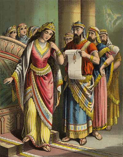 The disgrace of Vashti. One of sixteen illustrations for a booklet called The Story of Queen Esther (np, c 1870).