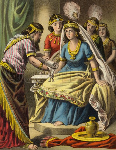 Hatach shewing Esther the copy of the writing of the decree. One of sixteen illustrations for a booklet called The Story of Queen Esther (np, c 1870).