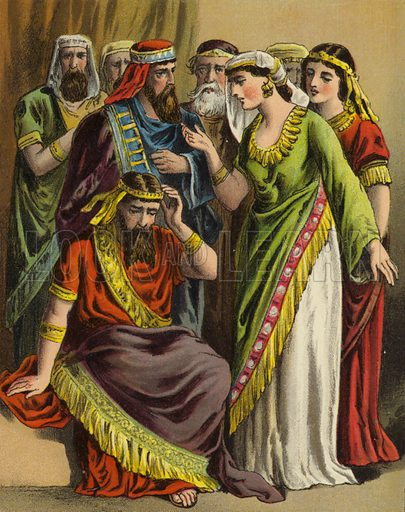Haman lays his complaint before Zeresh his wife and all his friends. One of sixteen illustrations for a booklet called The Story of Queen Esther (np, c 1870).
