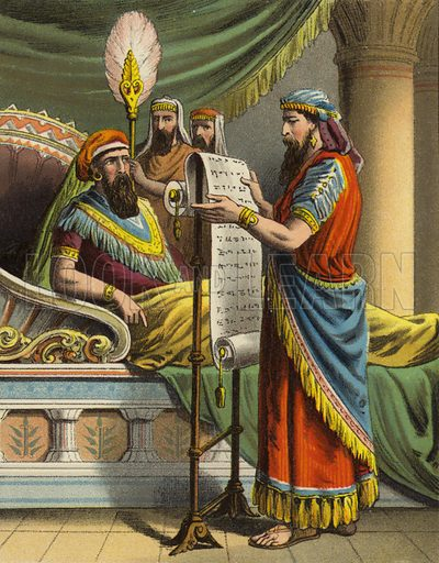 King Ahasuerus hears of Mordecai in the book of records. One of sixteen illustrations for a booklet called The Story of Queen Esther (np, c 1870).