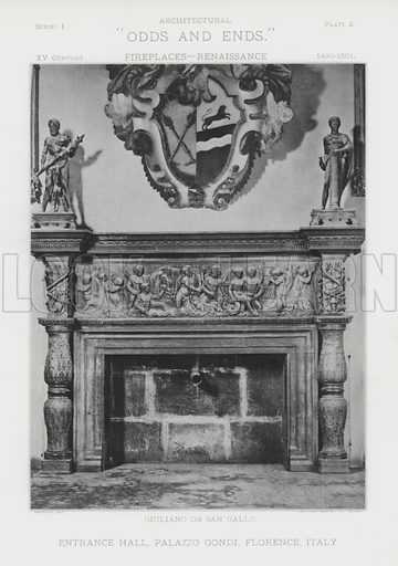 """Entrance Hall, Palazzo Gondi, Florence, Italy. Illustration for Architectural """"Odds and Ends"""" No I, Fireplaces (Heliotype Printing Co, 1892). Exquisitely printed."""
