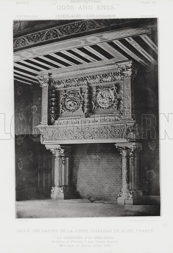 "Salle Des Gardes De La Reine, Chateau De Blois, France. Illustration for Architectural ""Odds and Ends"" No I, Fireplaces (Heliotype Printing Co, 1892). Exquisitely printed."