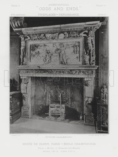 """Musee De Cluny, Paris, Ecole Champenoise. Illustration for Architectural """"Odds and Ends"""" No I, Fireplaces (Heliotype Printing Co, 1892). Exquisitely printed."""