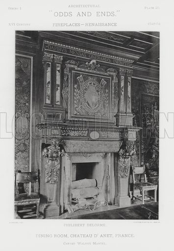 """Dining Room, Chateau D'Anet, France. Illustration for Architectural """"Odds and Ends"""" No I, Fireplaces (Heliotype Printing Co, 1892). Exquisitely printed."""