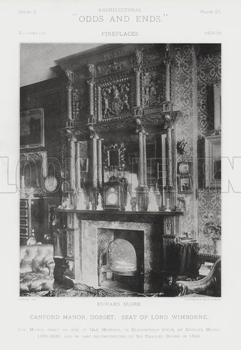 """Canford Manor, Dorset, Seat of Lord Wimborne. Illustration for Architectural """"Odds and Ends"""" No I, Fireplaces (Heliotype Printing Co, 1892). Exquisitely printed."""