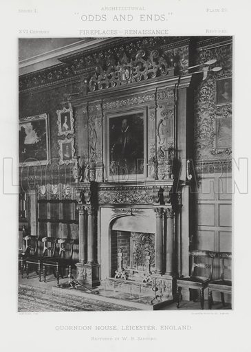 """Quorndon House, Leicester, England. Illustration for Architectural """"Odds and Ends"""" No I, Fireplaces (Heliotype Printing Co, 1892). Exquisitely printed."""