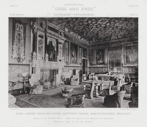 """King James's Drawing-Room, Hatfield House, Hertfordshire, England. Illustration for Architectural """"Odds and Ends"""" No I, Fireplaces (Heliotype Printing Co, 1892). Exquisitely printed."""