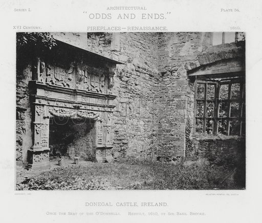 """Donegal Castle, Ireland. Illustration for Architectural """"Odds and Ends"""" No I, Fireplaces (Heliotype Printing Co, 1892). Exquisitely printed."""