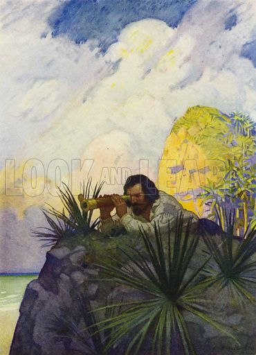 """""""I laid me down flat on my belly on the ground, and began to look for the place."""" Illustration for Robinson Crusoe by Daniel Defoe with pictures by N C Wyeth (Cosmopolitan Book Corporation, 1920)."""