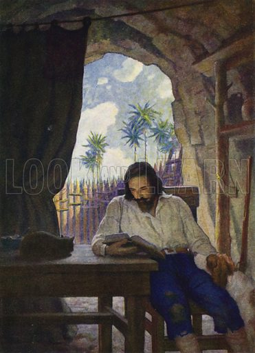"""In the morning I took the Bible; and beginning at the New Testament, I began seriously to read it -"" Illustration for Robinson Crusoe by Daniel Defoe with pictures by N C Wyeth (Cosmopolitan Book Corporation, 1920)."