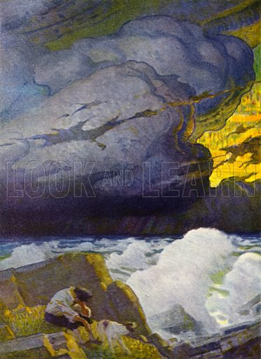 """""""All this while I sat upon the ground, very much terrified and dejected."""" Illustration for Robinson Crusoe by Daniel Defoe with pictures by N C Wyeth (Cosmopolitan Book Corporation, 1920)."""