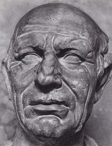 Unknown Man, First Century BC, Munich, Glyptothek. Illustration for Roman Portraits edited by Ludwig Goldscheider (Phaidon Edition, Oxford University Press, New York, 1940). Gravure printed.