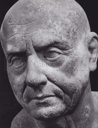 Portrait, Probably after Wax-Model, First Century BC, Rome, Museo Capitolino. Illustration for Roman Portraits edited by Ludwig Goldscheider (Phaidon Edition, Oxford University Press, New York, 1940). Gravure printed.