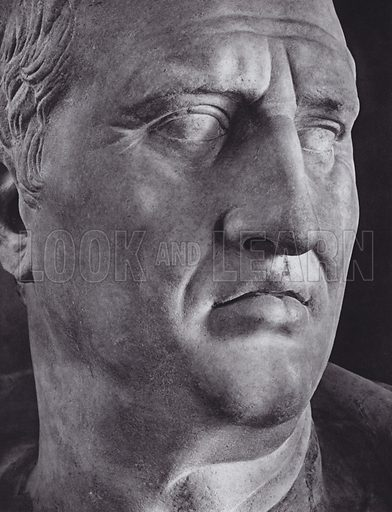 Portrait of Cicero, About 50 BC, Rome, Museo Capitolino. Illustration for Roman Portraits edited by Ludwig Goldscheider (Phaidon Edition, Oxford University Press, New York, 1940). Gravure printed.