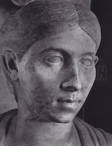 Porzia, About 100 AD, Rome, Museo Vaticano. Illustration for Roman Portraits edited by Ludwig Goldscheider (Phaidon Edition, Oxford University Press, New York, 1940). Gravure printed.