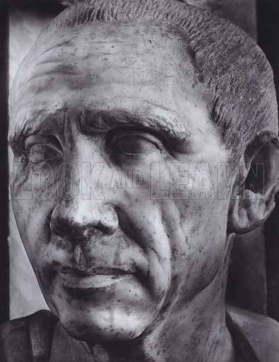 Cato, About 100 AD, Rome, Museo Vaticano. Illustration for Roman Portraits edited by Ludwig Goldscheider (Phaidon Edition, Oxford University Press, New York, 1940). Gravure printed.