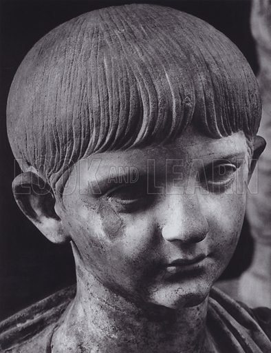 Portrait of a Boy, Britannicus, About 50 AD, Paris, Louvre. Illustration for Roman Portraits edited by Ludwig Goldscheider (Phaidon Edition, Oxford University Press, New York, 1940). Gravure printed.