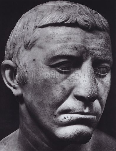 Corbulo, About 60 AD, Paris, Louvre. Illustration for Roman Portraits edited by Ludwig Goldscheider (Phaidon Edition, Oxford University Press, New York, 1940). Gravure printed.