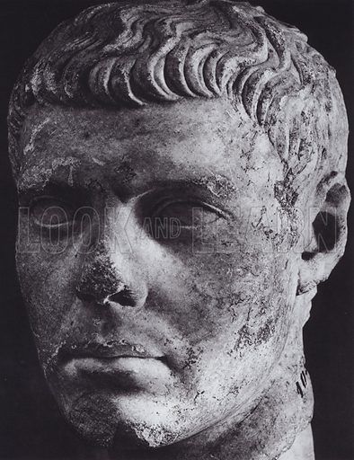 Male Portrait, Time of Augustus, About 20 BC, Rome, Museo Nazionale. Illustration for Roman Portraits edited by Ludwig Goldscheider (Phaidon Edition, Oxford University Press, New York, 1940). Gravure printed.