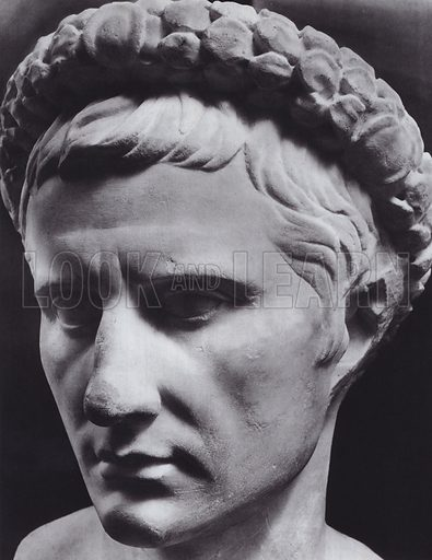 Augustus, 31-14 BC, Rome, Palazzo Capitolino. Illustration for Roman Portraits edited by Ludwig Goldscheider (Phaidon Edition, Oxford University Press, New York, 1940). Gravure printed.