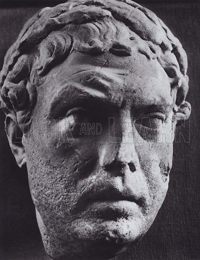 Portrait of a Victor, Augustus, Fragment of a Relief, About 20 BC, Rome, Museo Nazionale. Illustration for Roman Portraits edited by Ludwig Goldscheider (Phaidon Edition, Oxford University Press, New York, 1940). Gravure printed.