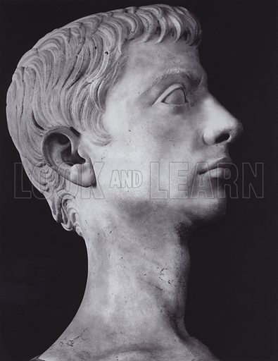 Augustus, 31-14 BC, Rome, Museo Barracco. Illustration for Roman Portraits edited by Ludwig Goldscheider (Phaidon Edition, Oxford University Press, New York, 1940). Gravure printed.