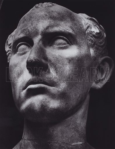 Male Portrait, About 50 AD, Paris, Louvre. Illustration for Roman Portraits edited by Ludwig Goldscheider (Phaidon Edition, Oxford University Press, New York, 1940). Gravure printed.
