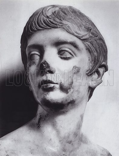 Portrait of a Youth, Flavian, 54-117 AD, London, British Museum. Illustration for Roman Portraits edited by Ludwig Goldscheider (Phaidon Edition, Oxford University Press, New York, 1940). Gravure printed.