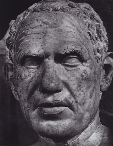 Male Portrait from the Sepulchral Monument of the Haterii, Flavian, 54-117 AD, Rome, Museo Profano Lateranense. Illustration for Roman Portraits edited by Ludwig Goldscheider (Phaidon Edition, Oxford University Press, New York, 1940). Gravure printed.