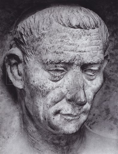 Male Portrait from a Tombstone, First Century AD, Florence, Uffizi. Illustration for Roman Portraits edited by Ludwig Goldscheider (Phaidon Edition, Oxford University Press, New York, 1940). Gravure printed.