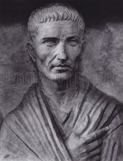 Male Portrait from the Sepulchral Relief of the Gens Furia, First Century AD, Rome, Museo Profano Lateranense. Illustration for Roman Portraits edited by Ludwig Goldscheider (Phaidon Edition, Oxford University Press, New York, 1940). Gravure printed.