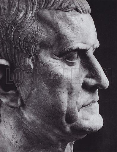 Galba, 68-69 AD, Paris, Louvre. Illustration for Roman Portraits edited by Ludwig Goldscheider (Phaidon Edition, Oxford University Press, New York, 1940). Gravure printed.