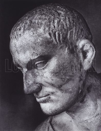 Hellenistic Portrait, About 100 AD, Rome, Museo Nazionale. Illustration for Roman Portraits edited by Ludwig Goldscheider (Phaidon Edition, Oxford University Press, New York, 1940). Gravure printed.