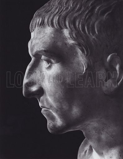 Male Portrait, About 100 AD, Rome, Palazzo Capitolino. Illustration for Roman Portraits edited by Ludwig Goldscheider (Phaidon Edition, Oxford University Press, New York, 1940). Gravure printed.