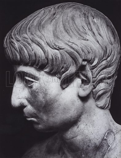 Male Portrait, First Century AD, Paris, Louvre. Illustration for Roman Portraits edited by Ludwig Goldscheider (Phaidon Edition, Oxford University Press, New York, 1940). Gravure printed.