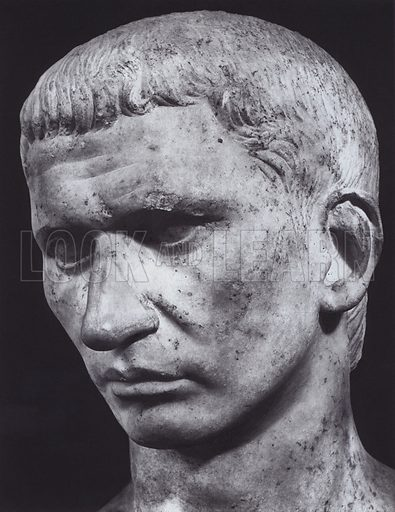 Male Portrait, Early Empire, Rome, Palazzo Capitolino. Illustration for Roman Portraits edited by Ludwig Goldscheider (Phaidon Edition, Oxford University Press, New York, 1940). Gravure printed.