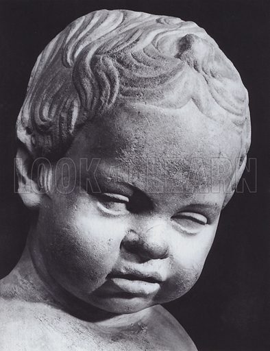Portrait of a Baby, Early Empire, Rome, Palazzo Capitolino. Illustration for Roman Portraits edited by Ludwig Goldscheider (Phaidon Edition, Oxford University Press, New York, 1940). Gravure printed.