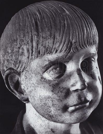 Portrait of a Boy, Third Century AD, Paris, Louvre. Illustration for Roman Portraits edited by Ludwig Goldscheider (Phaidon Edition, Oxford University Press, New York, 1940). Gravure printed.