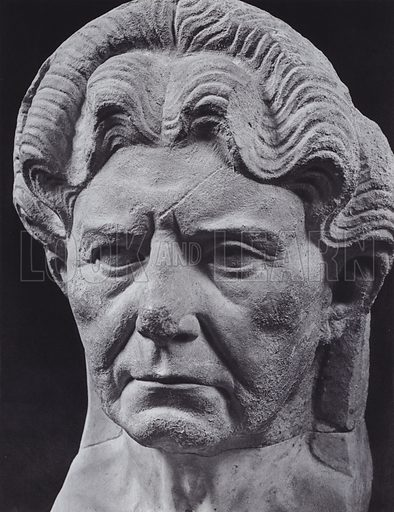 Portrait of an Old Lady, Third Century AD, Rome, Museo Lateranense Profano. Illustration for Roman Portraits edited by Ludwig Goldscheider (Phaidon Edition, Oxford University Press, New York, 1940). Gravure printed.