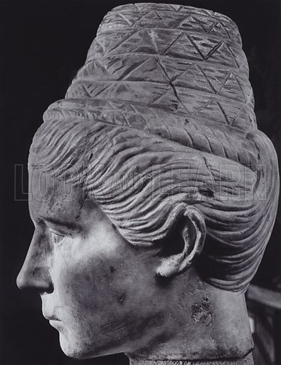 Female Portrait, About 200 AD, Paris, Louvre. Illustration for Roman Portraits edited by Ludwig Goldscheider (Phaidon Edition, Oxford University Press, New York, 1940). Gravure printed.
