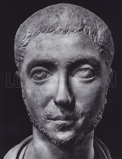 Alexander Severus, 222-235 AD, Rome, Palazzo Capitolino. Illustration for Roman Portraits edited by Ludwig Goldscheider (Phaidon Edition, Oxford University Press, New York, 1940). Gravure printed.