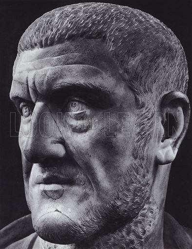 Maximinus Thrax, 235-238 AD, Paris, Louvre. Illustration for Roman Portraits edited by Ludwig Goldscheider (Phaidon Edition, Oxford University Press, New York, 1940). Gravure printed.