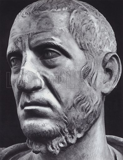 Male Portrait, Third Century AD, Roma, Museo Nazionale. Illustration for Roman Portraits edited by Ludwig Goldscheider (Phaidon Edition, Oxford University Press, New York, 1940). Gravure printed.